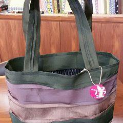 グレー紫ピンク三色縁バッグ
